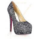 Гипюровые туфли с кристалами DARK SILVER